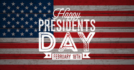 Happy Presidents Day of the USA Vector Illustration. Celebration Design with Flag and Typography Letter on Vintage Background for Banner, Greeting Card, Invitation or Holiday Poster.