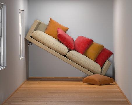 kleines Wohnzimmer mit zu großem Sofa