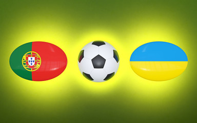 European Football Championship 2020. Schedule football matches Portugal - Ukraine. Flags of countries and soccer ball. 3D illustration.