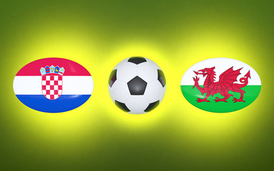 European Football Championship 2020. Schedule for football matches Croatia - Wales. Flags of countries and soccer ball. 3D illustration.