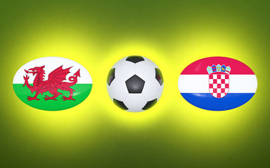 European Football Championship 2020. Schedule for football matches Wales - Croatia. Flags of countries and soccer ball. 3D illustration.