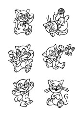 playing kitten with ribbon on the neck, set of icons, black and white outline