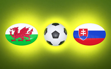 European Football Championship 2020. Schedule for football matches Wales - Slovakia. Flags of countries and soccer ball. 3D illustration.