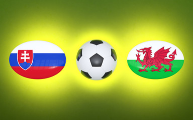 European Football Championship 2020. Schedule for football matches Slovakia - Wales. Flags of countries and soccer ball. 3D illustration.