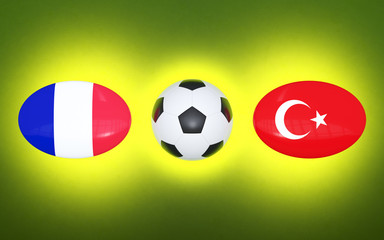 European Football Championship 2020. Schedule for football matches France - Turkey. Flags of countries and soccer ball. 3D illustration.