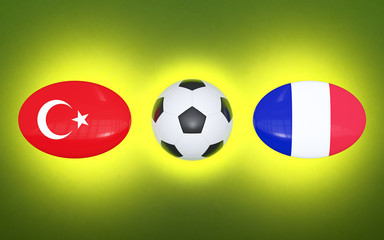 European Football Championship 2020. Schedule for football matches Turkey - France. Flags of countries and soccer ball. 3D illustration.