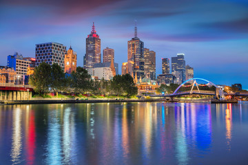 Melbourne. Cityscape image of Melbourne, Australia during twilight blue hour.