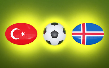 European Football Championship 2020. Schedule for football matches Turkey - Iceland. Flags of countries and soccer ball. 3D illustration.
