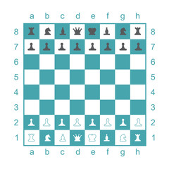 Chess board with chess pieces. Set of two vector icons. Flat design. Vector illustration