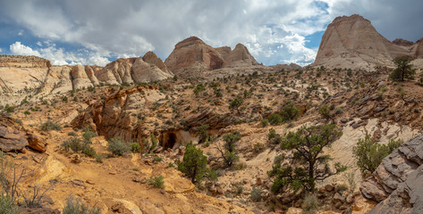 Capitol Reef National Park filled with cliffs, canyons, domes, and bridges, red rock country desert, Utah, United States