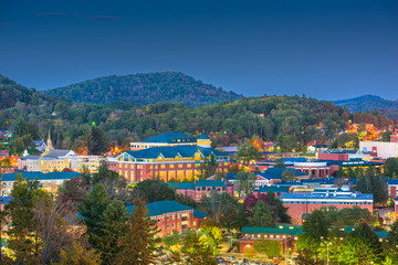Boone, North Carolina, USA campus and town skyline