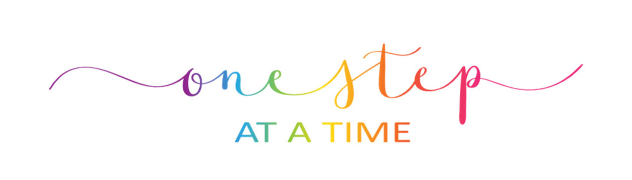 ONE STEP AT A TIME brush calligraphy banner