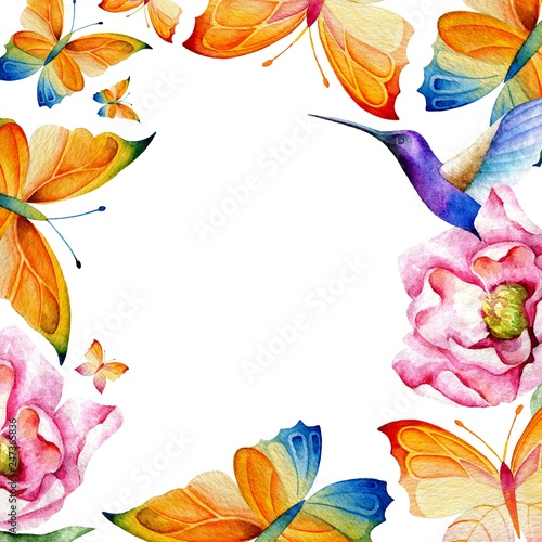 Template for greeting card, invitation and banner  Flying