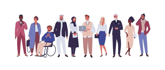 Diverse group of business people, entrepreneurs or office workers isolated on white background. Multinational company. Old and young men and women standing together. Flat cartoon vector illustration.