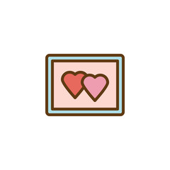 Love hearts picture flat icon, vector sign, colorful pictogram isolated on white. Couple hearts photo frame symbol, logo illustration. Flat style design