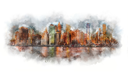 New York City watercolor - Manhattan and business district at the morning