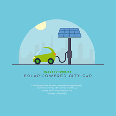 Solar powered city car charging vector illustration template with sample text