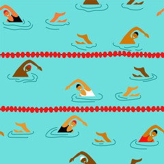 People swimming in the swimming pool seamless pattern