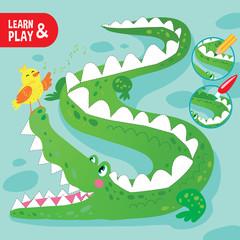Kid Game Coloring Crocodile Printable Worksheet Cartoon Vector