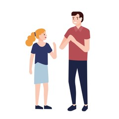 Smiling deaf man showing signs to little girl. Communication with people with deafness or hearing impairment. Cute cartoon characters isolated on white background. Flat vector illustration.