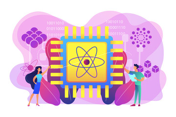Tiny people engineer and scientist working with quantum computer chip. Optical technology, photonics research, quantum computing concept. Bright vibrant violet vector isolated illustration