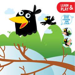Finger Drawing Game Crow Printable Worksheet Preschool Children Lesson.