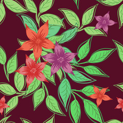 Beautiful seamless pattern with flowers and green leaves.