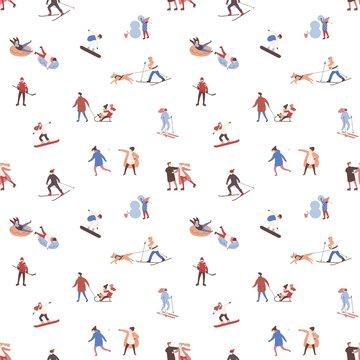 Seamless pattern with men, women and children performing winter outdoor activities. Backdrop with people skiing, snowboarding, ice skating, playing hockey, building snowman. Flat vector illustration.