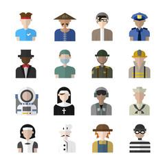 Career avatar character flat design vector set