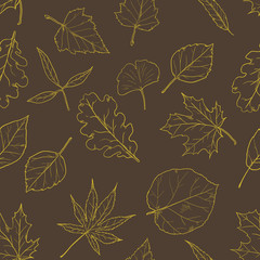 Vector Seamless Pattern with Sketch Leaves on Brown Background