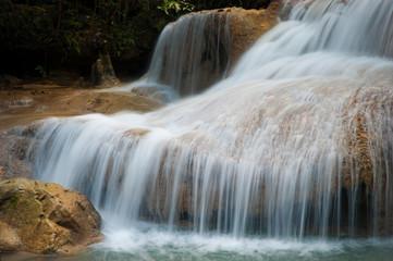 Beautiful nature and waterfall in the jungle, Erawan, Thailand