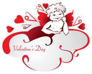 Angel with red wings on a cloud. Valentine's Day. Vector.