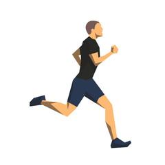 Runner, geometric flat design isolated vector illustration. Running man side view