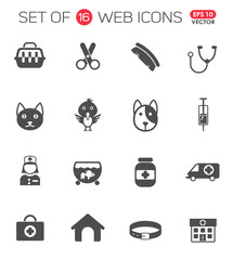 veterinary clinic icon set. veterinary clinic web icons for your project