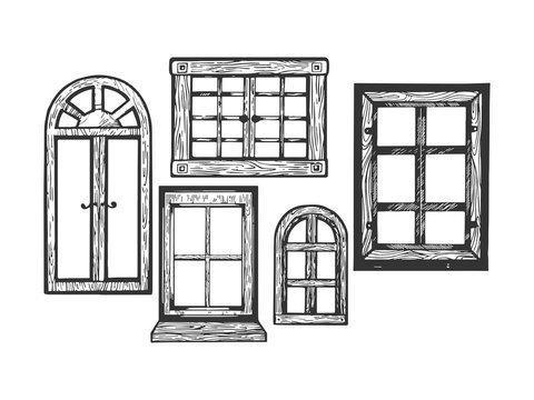 House wooden old windows engraving vector illustration. Scratch board style imitation. Black and white hand drawn image.