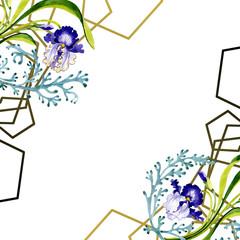 Blue iris floral botanical flower. Watercolor background illustration set. Frame border ornament square.