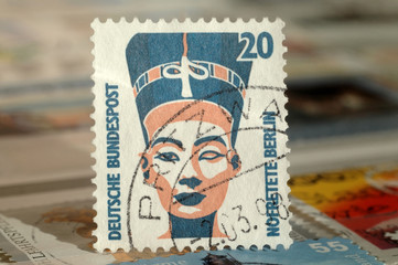 Kiev, Ukraine, February 04, 2019: Postage stamp of Germany. Edition on Royal families, shows Nefertiti Bust, circa 1994