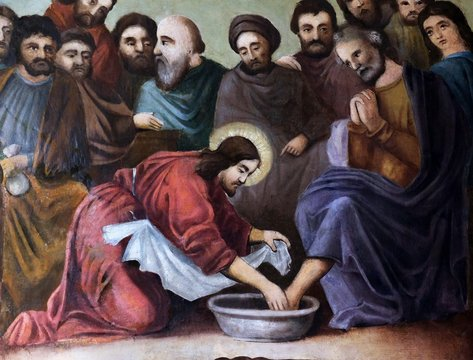 Jesus washes the feet of Peter, fresco in the church of Saint Matthew in Stitar, Croatia