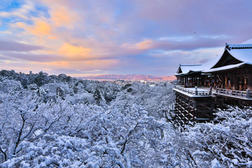 Kiyomizu dera temple with snow, Kyoto, Japan.
