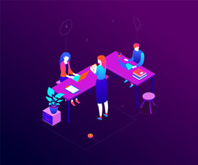 Office life - modern colorful isometric vector illustration