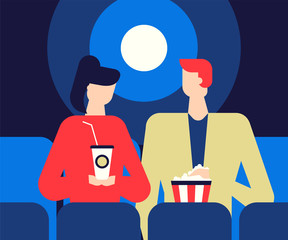 Couple at the cinema - flat design style colorful illustration