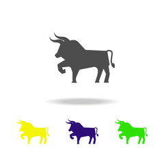 bull colored icons. Element of culture of spain. Signs and symbols can be used for web, logo, mobile app, UI, UX
