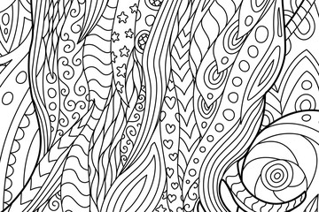 Waving coloring book page with hearts and stars