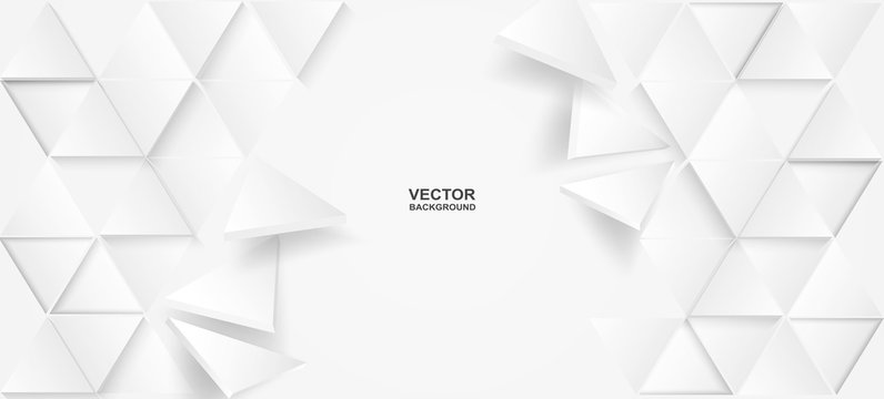 Abstract. Triangle polygon, white paper background, light and shadow .Vector