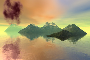 Volcano, a beautiful  landscape, islands in the ocean, smoke in the background and colored clouds in the sky.
