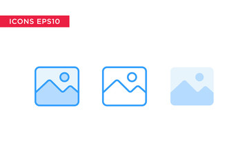 image, picture icon in line, outline, filled outline and flat design style isolated on white background. vector eps10