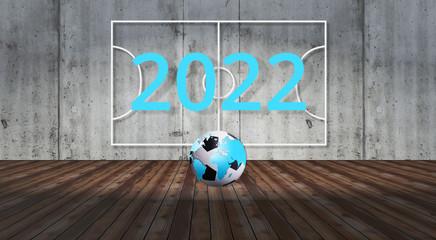 2022 Weltmeisterschaft Ball Weltkarte Spielfeld 3D