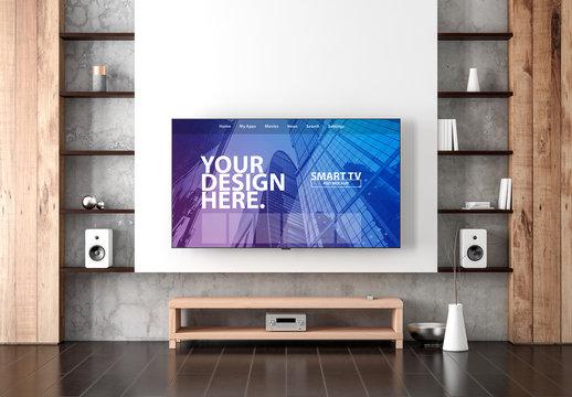 Smart TV on Living Room Wall Mockup