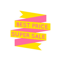 Yellow and pink retro best price tape on white