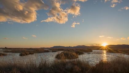 Sunset in the natural park of prat de cabanes
